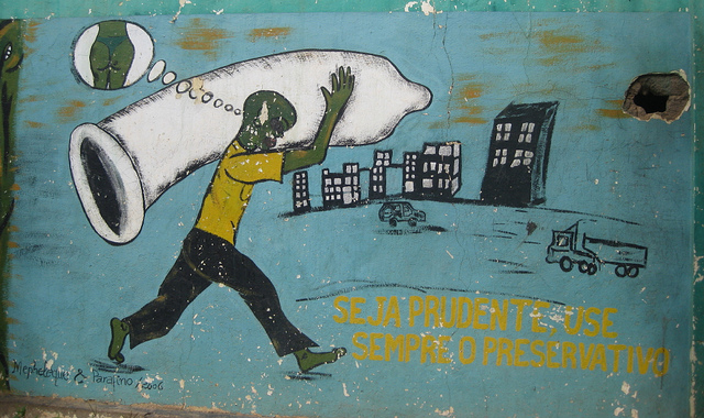 AIDS awareness painting on wall in Chimoio town, Mozambique.