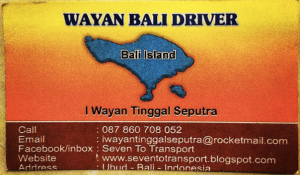 Wayan, the wonderful private driver I used to travel between Ubud and Seminyak (a 220,000 Rupiah trip, or about $18 USD).